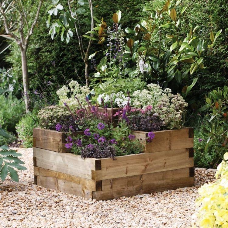 Pflanzkübel aus Holz -kies-lavendel-hochbeet-garten-outdoor | Garten ...