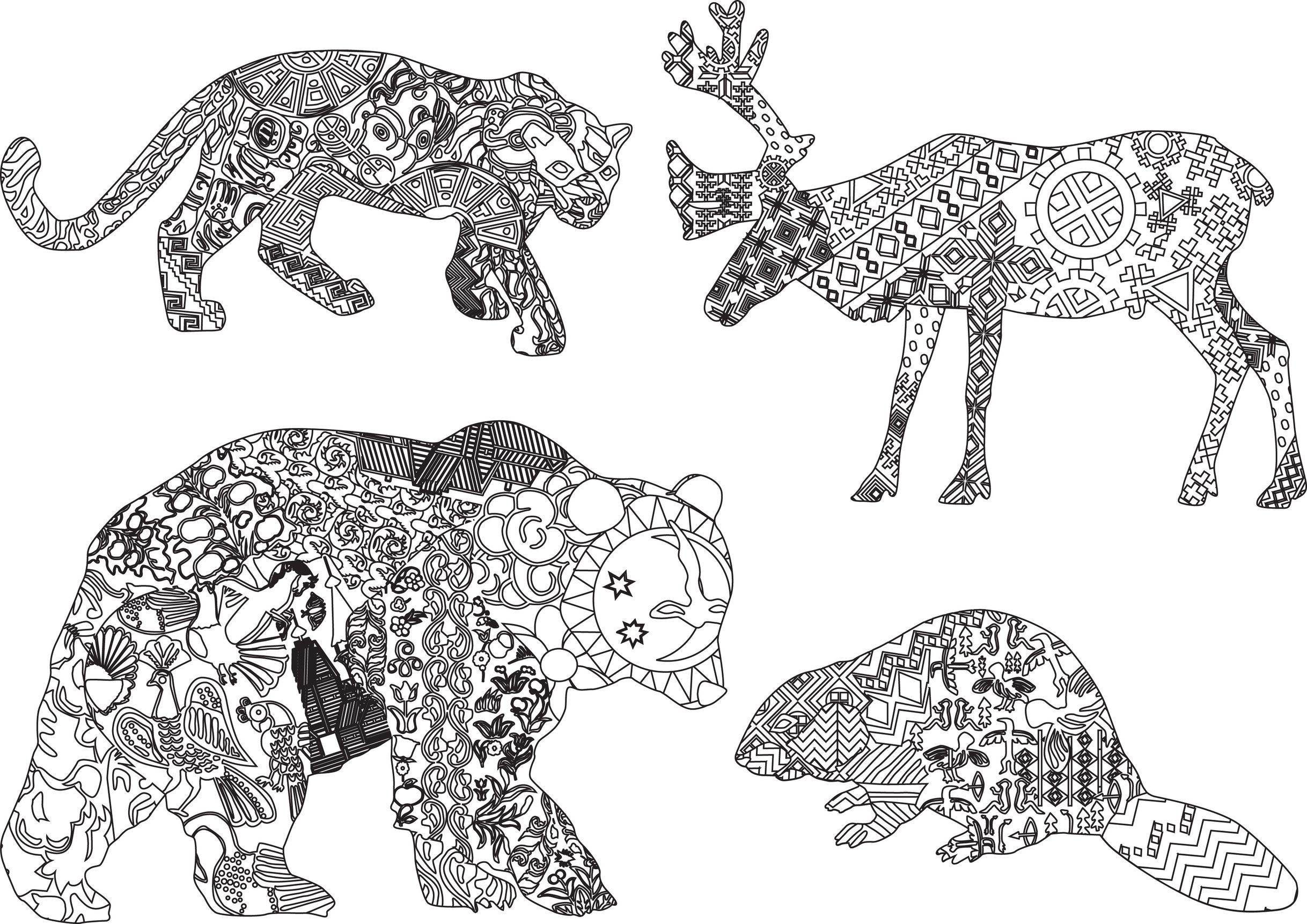 Coloriage d 39 animaux sauvages coloriage pinterest - Dessin animaux sauvages ...