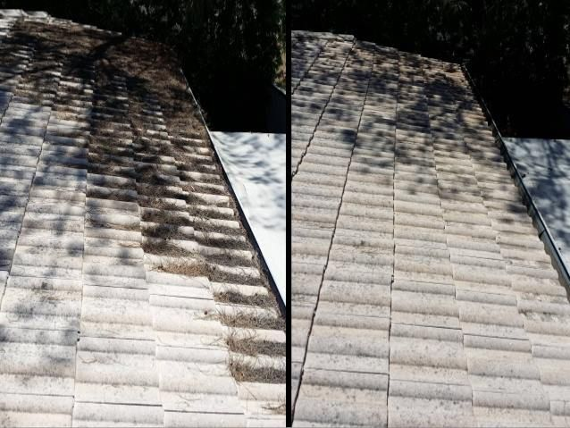 A Great Before And After Image Of A Roof And Gutter Cleaning Job Completed By Gutter Vac Adelaide Central Gutter Vac Adela Gutter Vac Cleaning Gutters Gutter
