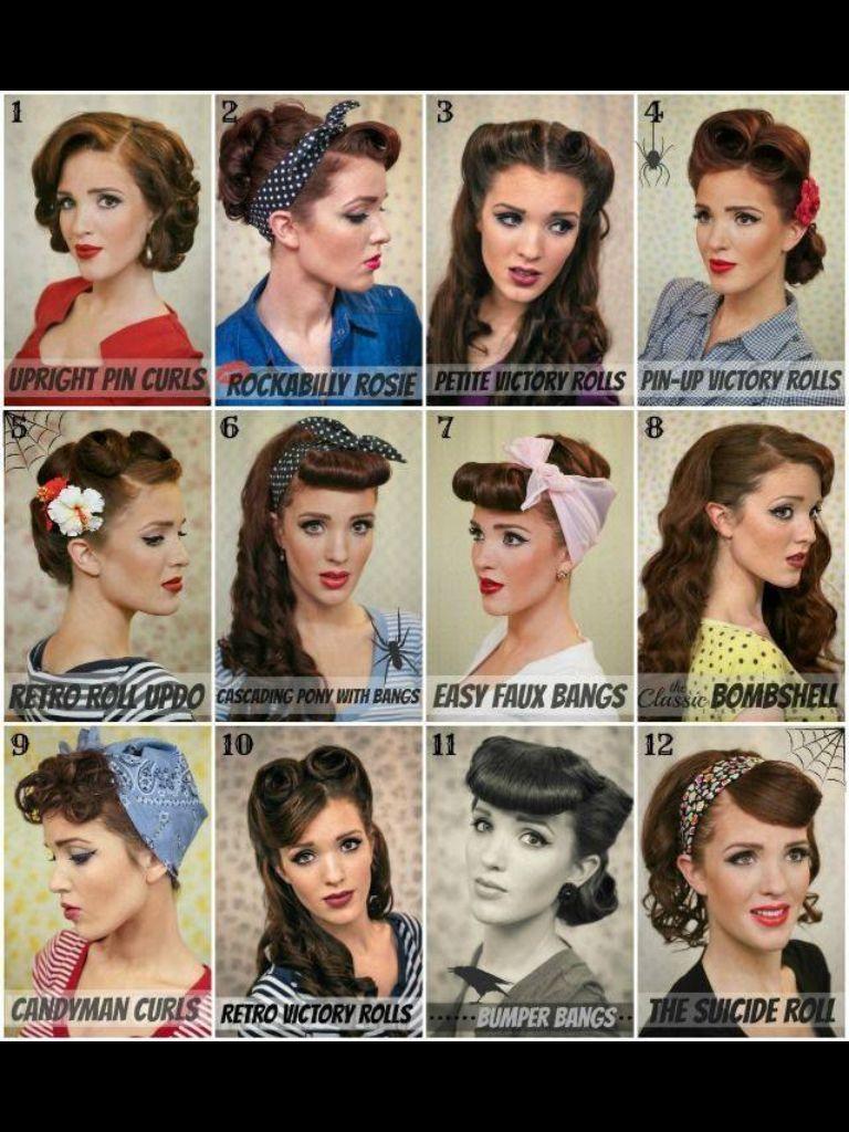 40's and 50's hair. love this looks! | hair | hair styles