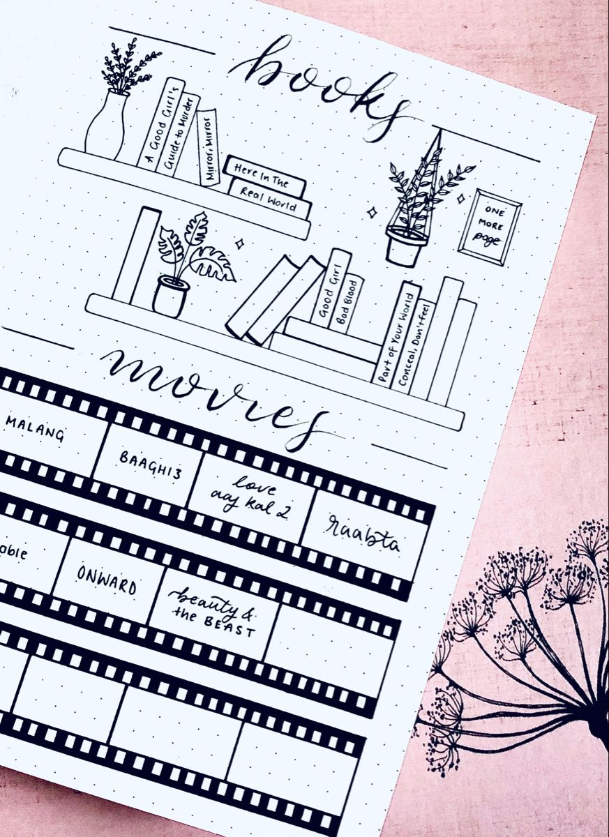 Bullet Journal | June Minimalistic Book & Movie Tracker Spread w/ brush lettering & plant doodles