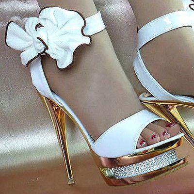 Hermoso Precioso Brillante Blanco Tobillo Arcos Diamantes Boda Zapatos Tacones Altos