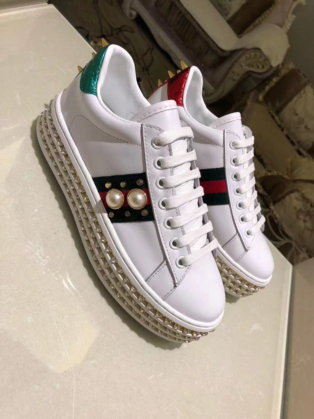 d68194c6ff7 Replica GUCCI Ace sneaker with pearls White Leather Women Size 35-40 ID  ID