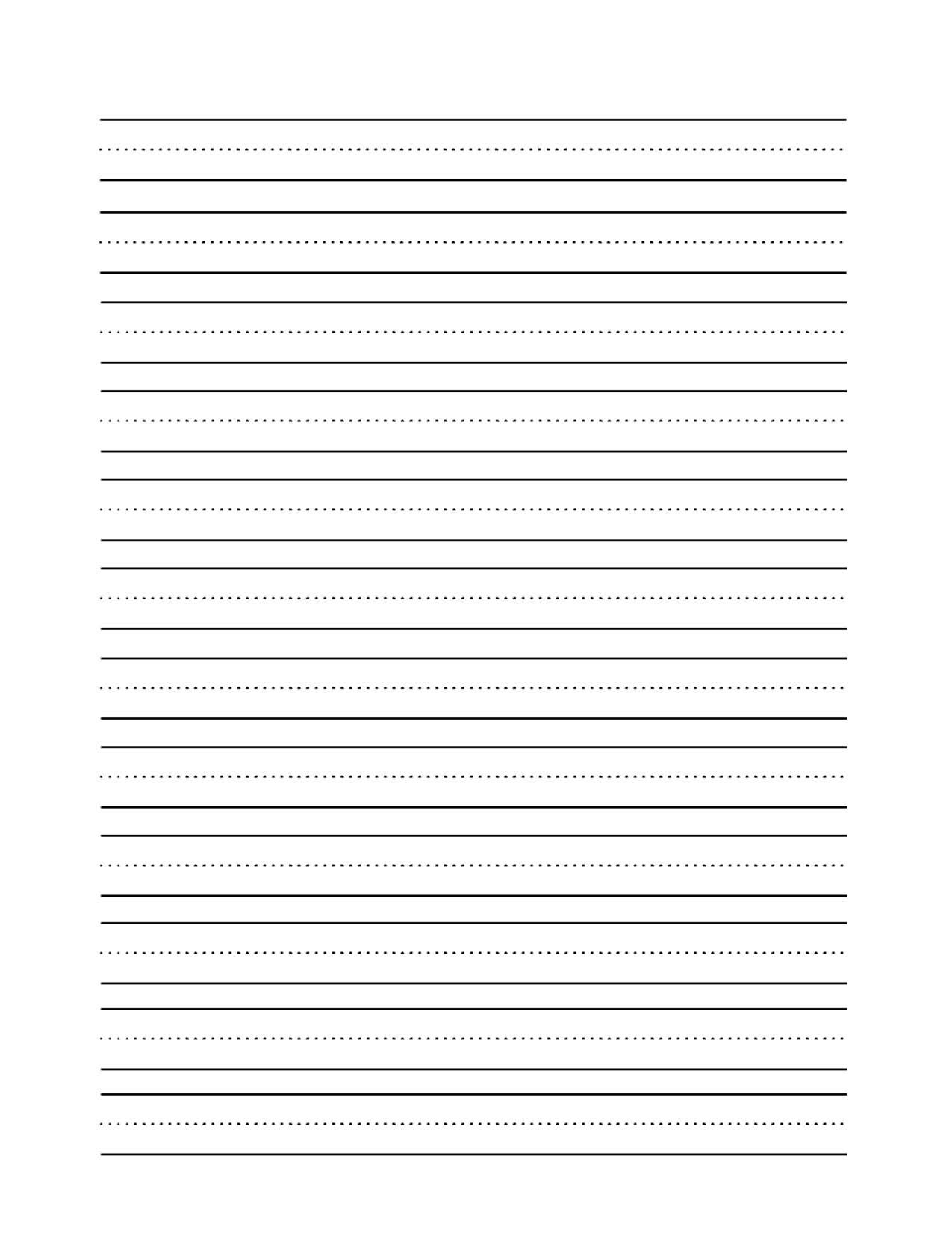 lined paper for handwriting practice Free to print this is lined paper for children to practice their handwriting it works for both print manuscript and cursive script handwriting styles there are thick lines at the top and bottom, with a dashed line in the center.
