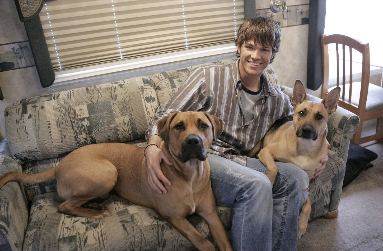 Jared Padelecki (Supernatural) with his two dogs on set