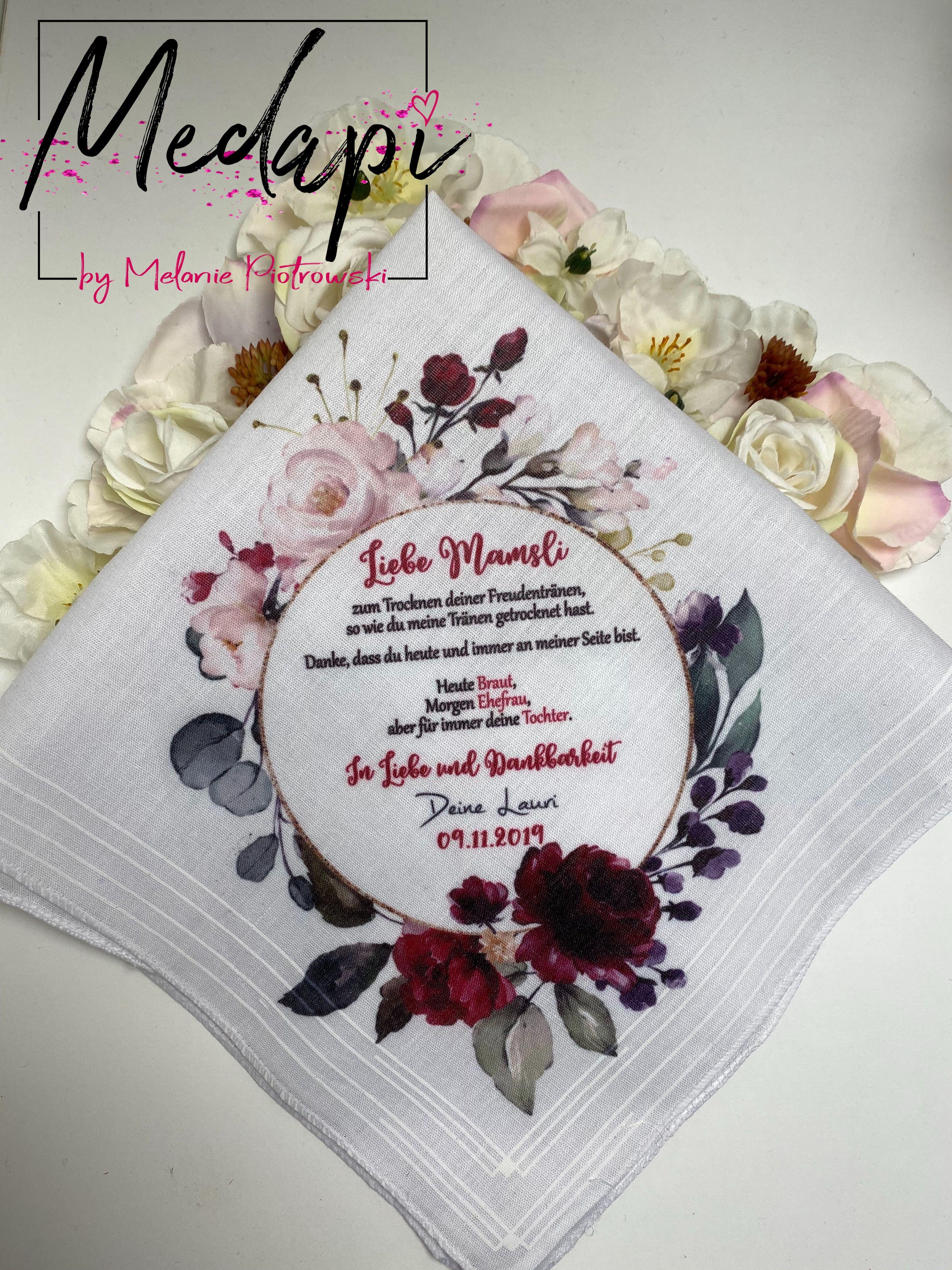 Taschentuch Fur Die Liebsten Zb Fur Die Brautmutter Nach Wunsch Bedruckt Taschentucher Taschentucher Hochzeit Brautmutter