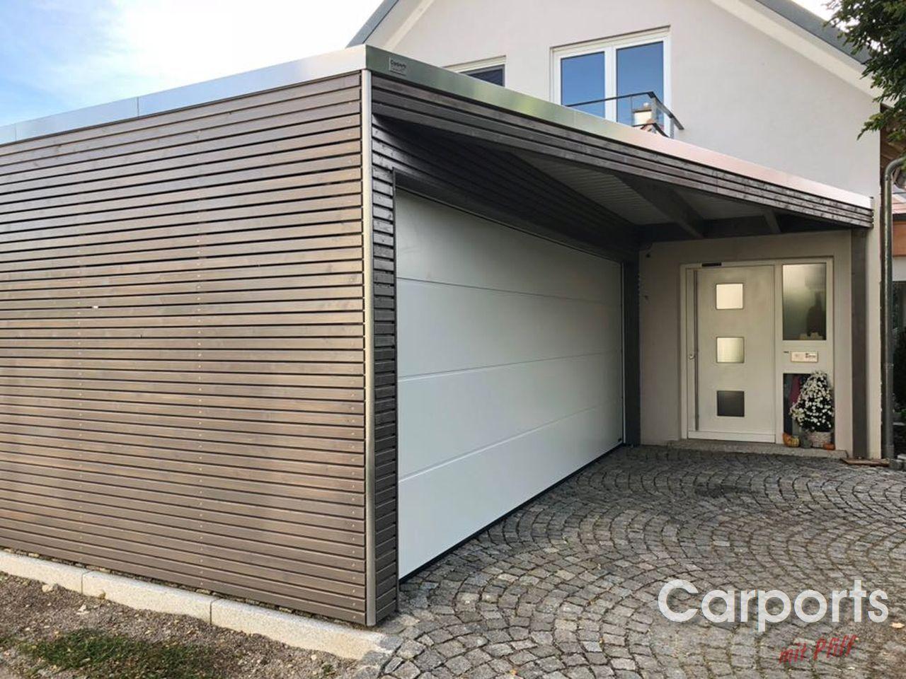 Carport Bauhaus Doppel Rhombo Mit Abstellraum Hausturuberdachung Dreieck Und Einen Sektionaltor Hausturuberdachung Uberdachungen Carport