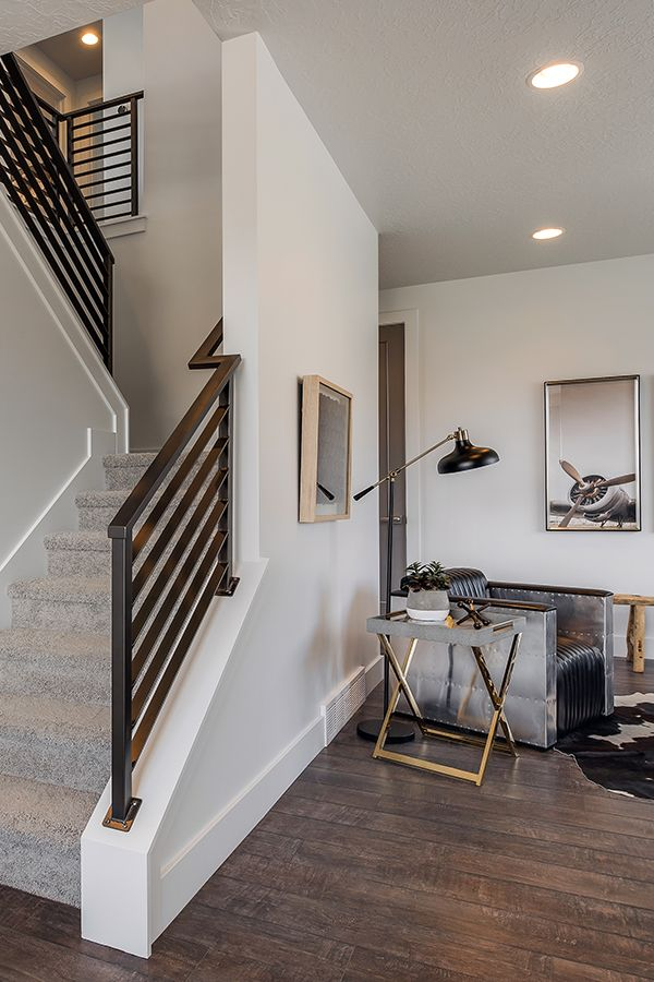 Staircase Design With Metal Railing And Home Decor Ideas Aviation Theme From Candlelight Homes We Build Beautiful Stunning Staircases Pinterest