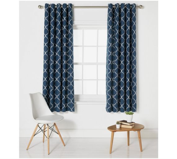 Buy Collection Trellis Lined Eyelet Curtains-117x183cm - Indigo at ...