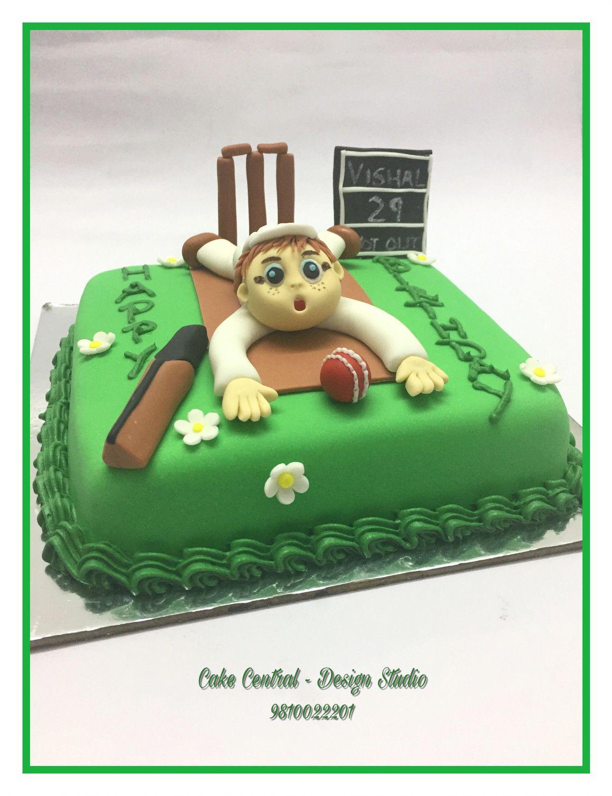 Cricket Themed Birthday Cake with Birthday Boys Figurine ...