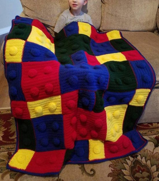 Lego Throw Pillow And Blanket Set : Lego Crochet Blanket Pattern Youtube Video Instructions Crochet blankets