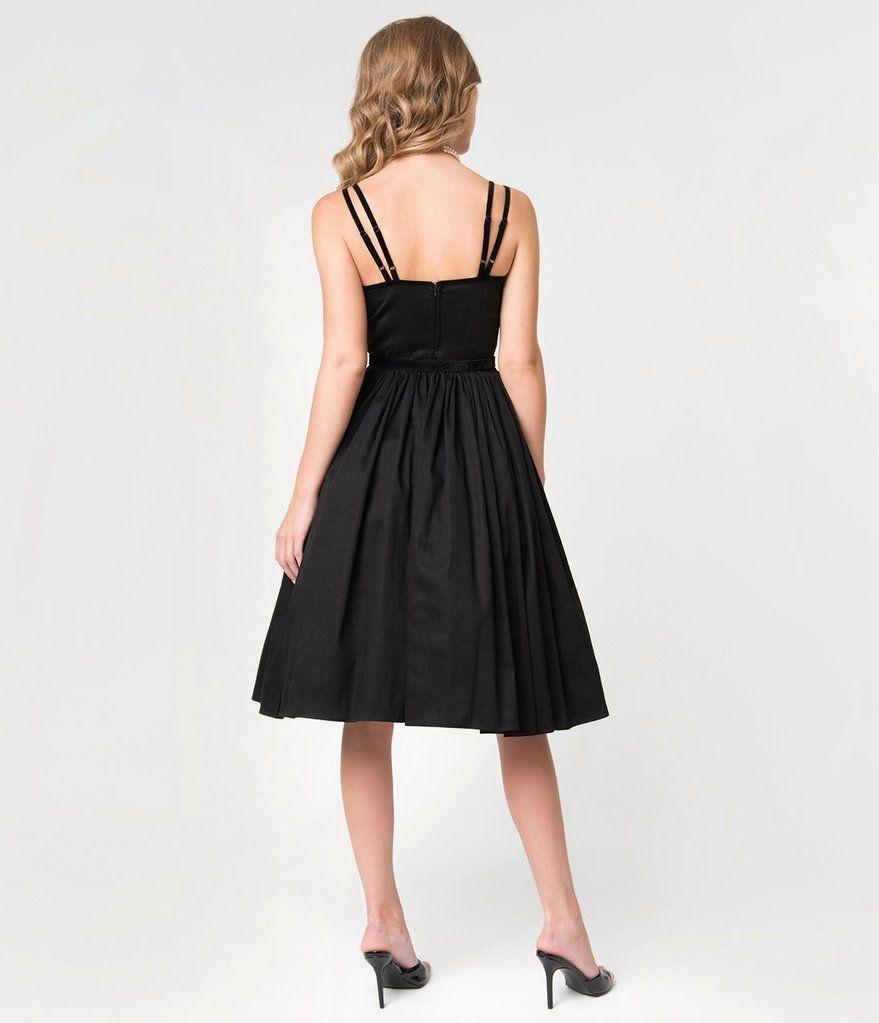 Micheline Pitt For Unique Vintage Black Cotton Alice Swing Dress Vintage Dresses Online Cocktail Dress Vintage Vintage Dresses [ 1023 x 879 Pixel ]