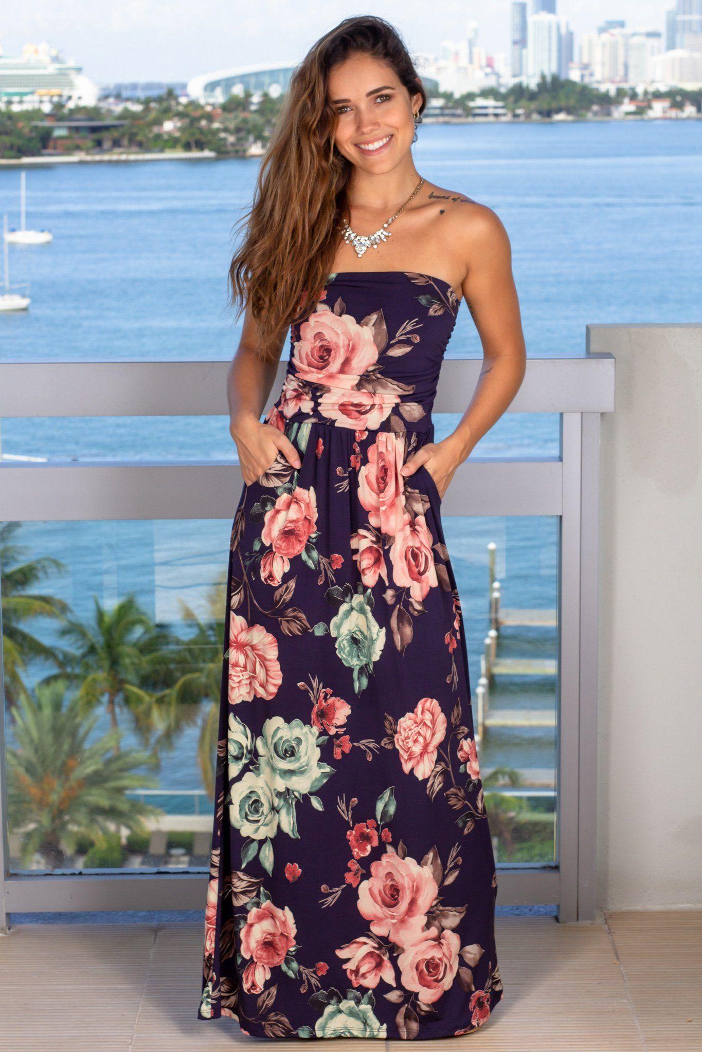 Navy Strapless Floral Maxi Dress Maxi Dress Dresses Floral Maxi Dress [ 2047 x 1365 Pixel ]