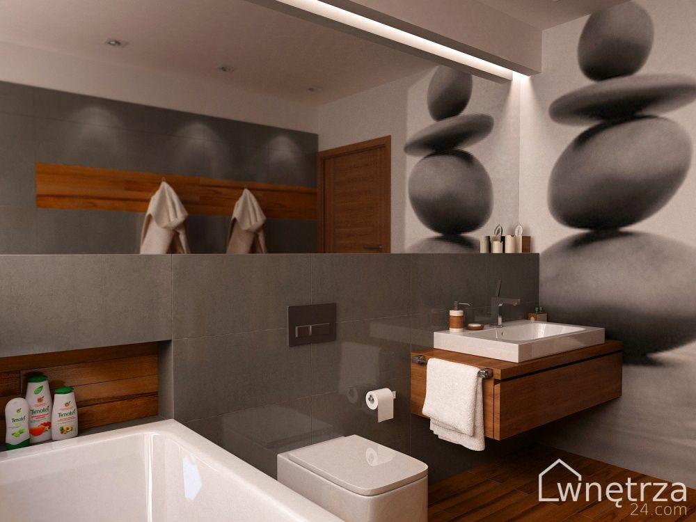 Szara łazienka Z Drewnem Bathroom Bathroom Bathtub Home