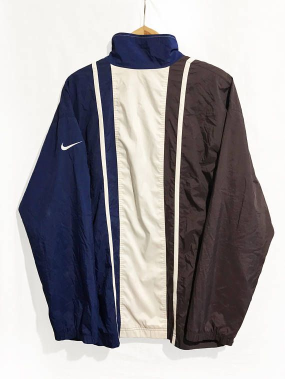 71d5c3697c Vintage 90s Nike Windbreaker jacket Blue White Brown Size XL ...