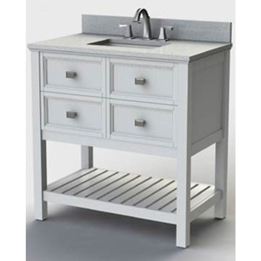 Style Selections Canterbury White Single Sink Poplar Bathroom