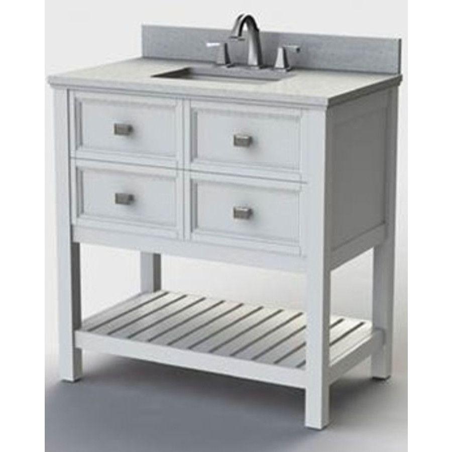 Style Selections Canterbury White Single Sink Poplar Bathroom