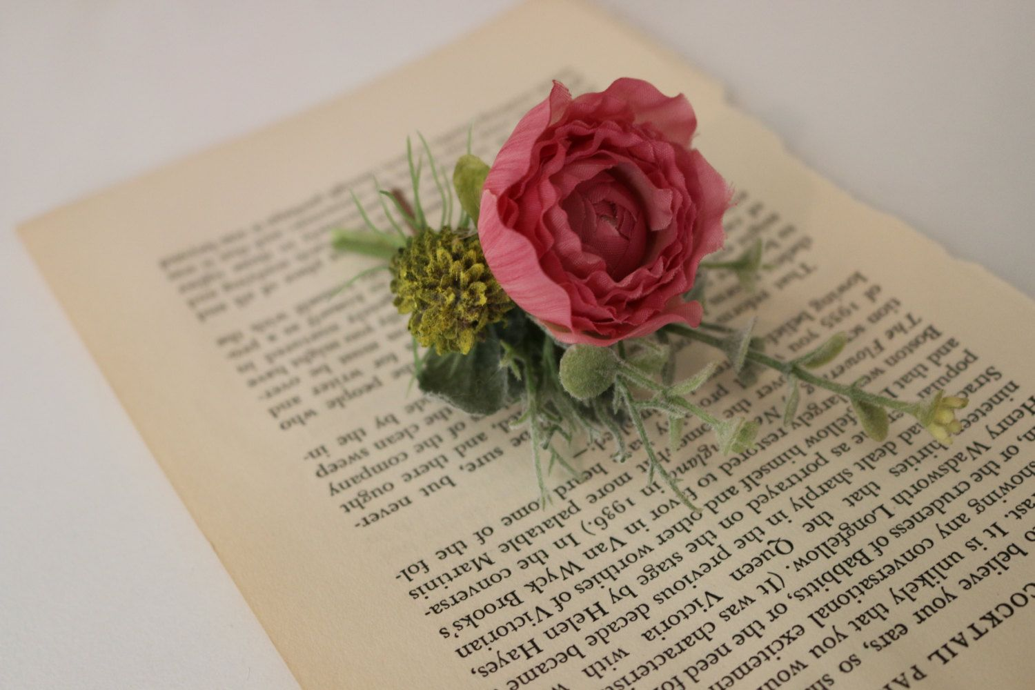 Pink Ranunculus and Thistle Boutonniere by JennaLeslyeDesigns on ...
