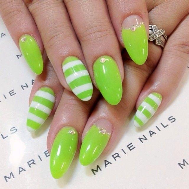 rayas   uñas de rayas   Pinterest   Rayas, Uñas de rayas y Uñas verdes