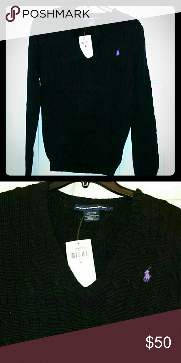 Ralph lauren black cotton seeater Brand new with tags ralph lauren cotton cable knit V neck sweater. Ralph Lauren Sweaters V-Necks