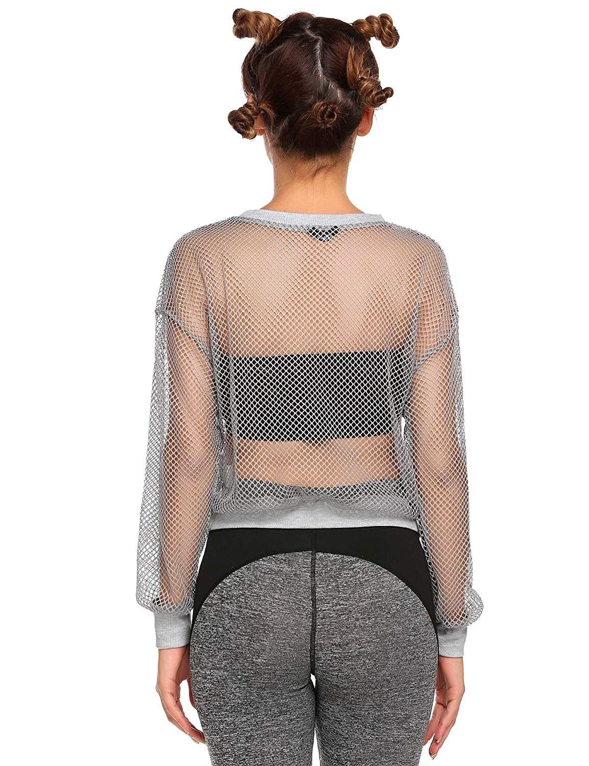 d11a203e27884 Zeagoo Women's Sexy Mesh Shirts Fishnet Long Sleeve See Through Cover Up  Tops at Amazon Women's Clothing store:
