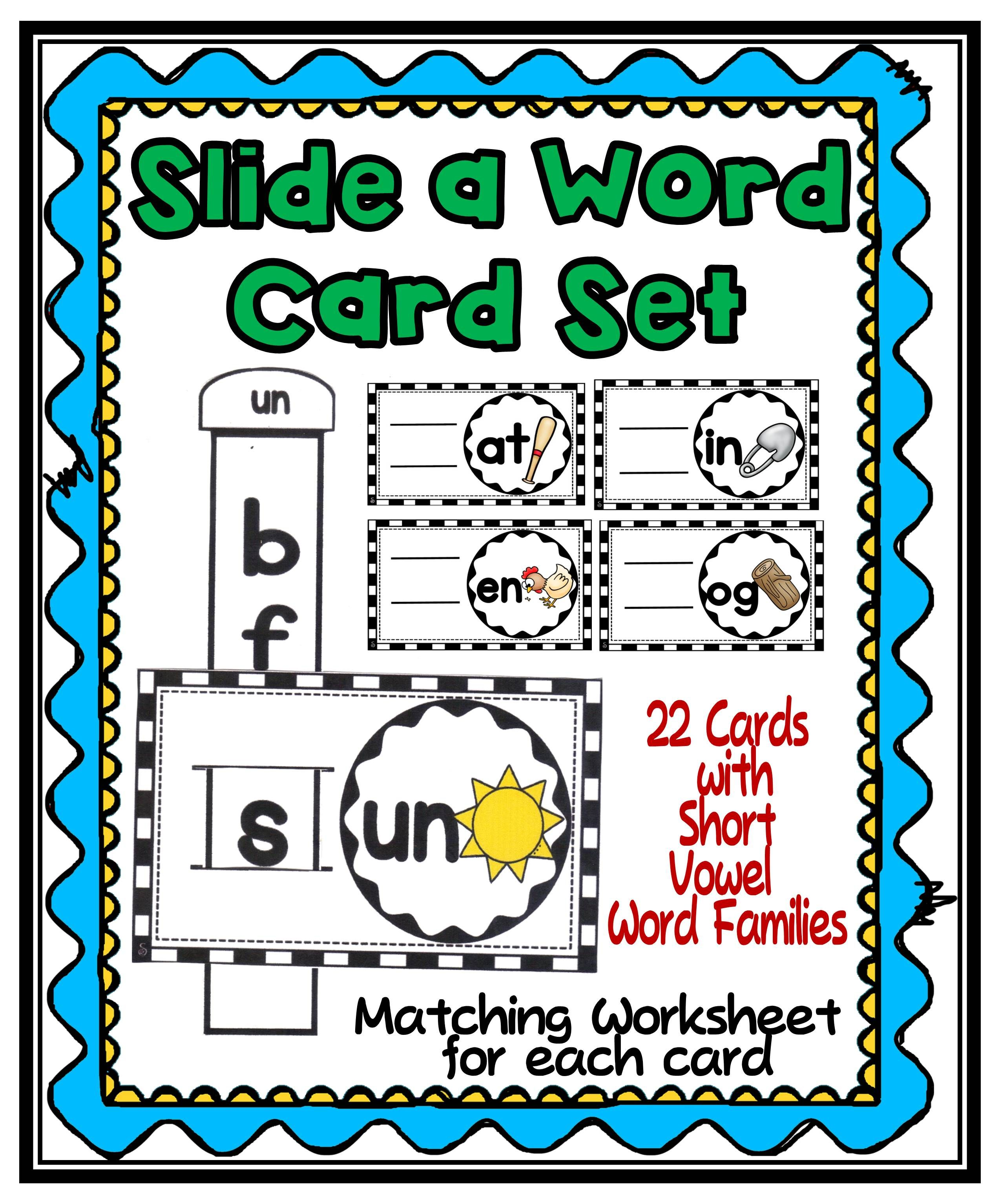 Slide A Word Short Vowels Family Set