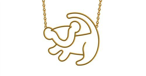 Disney Couture The Lion King Simba Outline Necklace