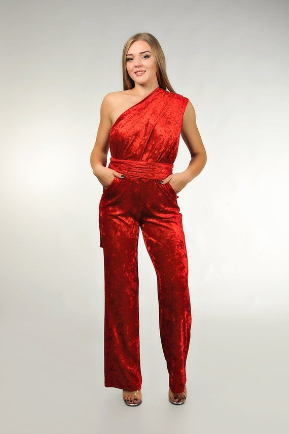 Red velvet wedding infinity jumpsuit, convertible bridesmaid jumpsuit #bridesmaidjumpsuits