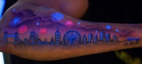 White Ink Tattoos Under Black Light