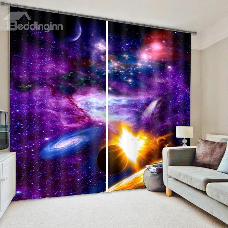 3D Splendid Galaxy and Stars Printed Polyester Dust-Proof Custom ...