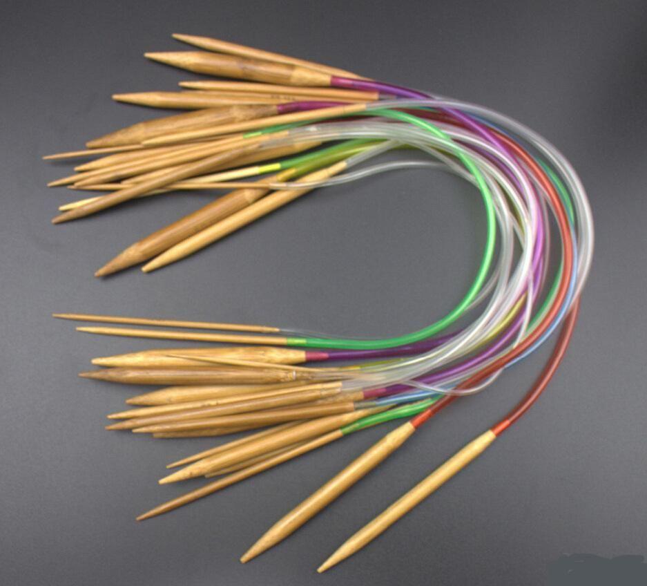 "[Visit to Buy] 18Pcs/set 16"" 40cm Tube Circular Carbonized Bamboo knitting needles Carbonized Knitting Needles Crafts Yarn tool colorful tube #Advertisement"