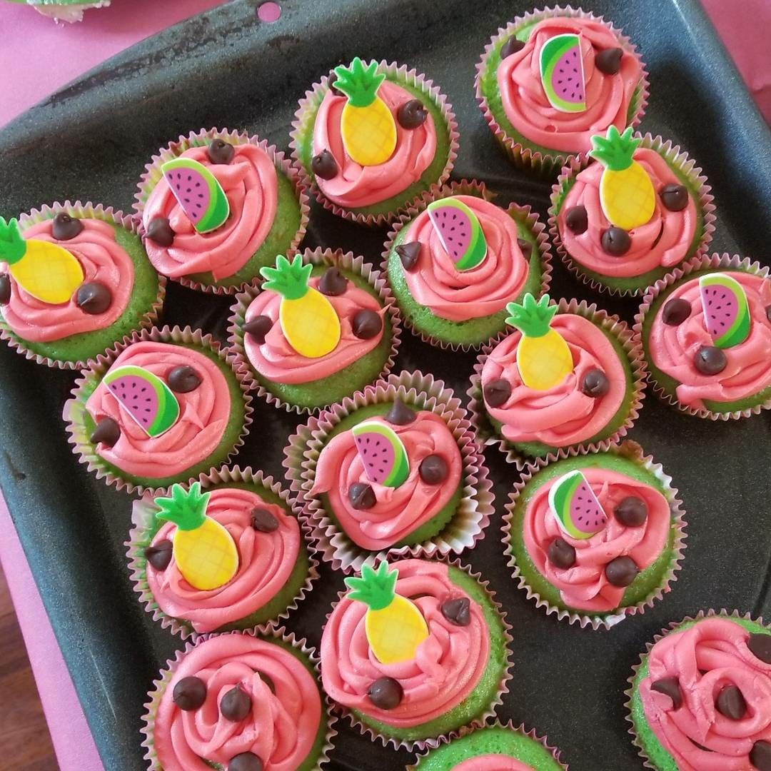 Admirable Two Tti Fruity Party Cupcakes With Images Tutti Frutti Personalised Birthday Cards Veneteletsinfo