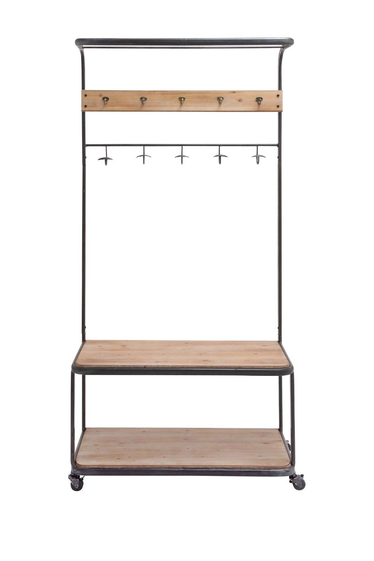 An Old School Style Metal Frame Bench With Coat Hooks And 2 Mango Wood - Metal wood clothes rack something like this by back door