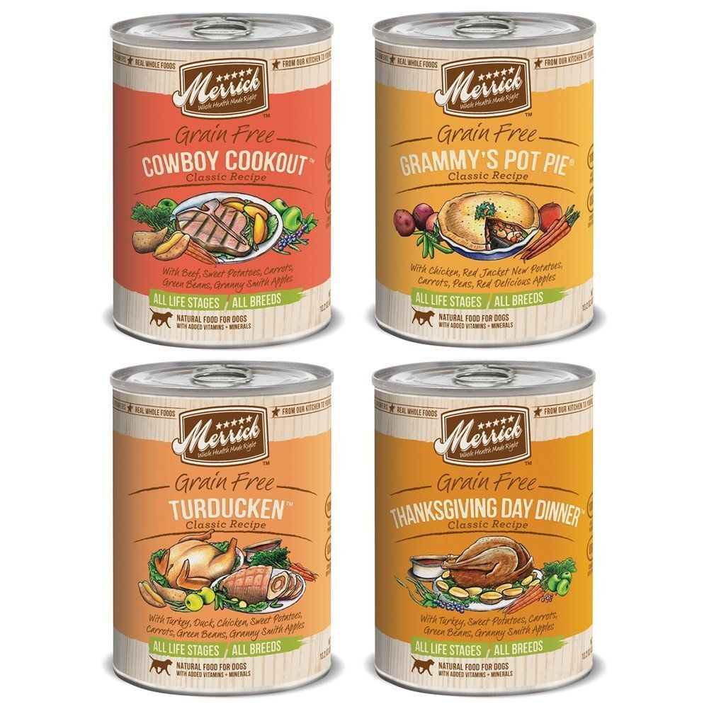 Merrick Dog Food Variety Bundle 4 Flavors 13 2 Oz Cans By