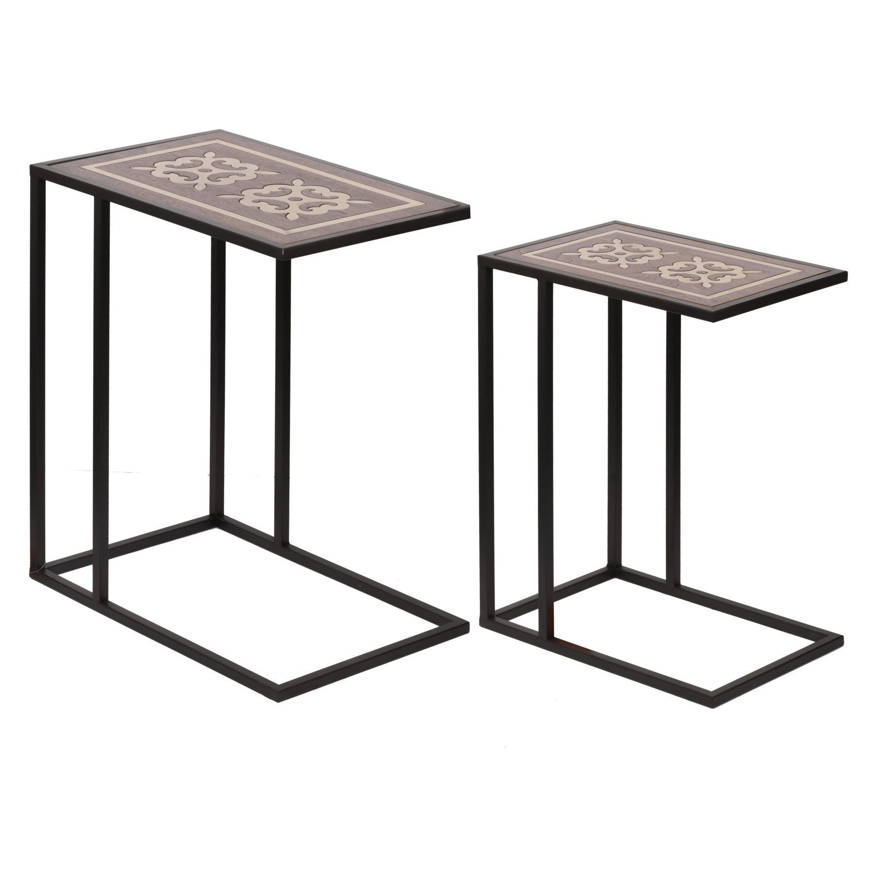 A And B Home Raj Brass Inlaid Nesting Tables