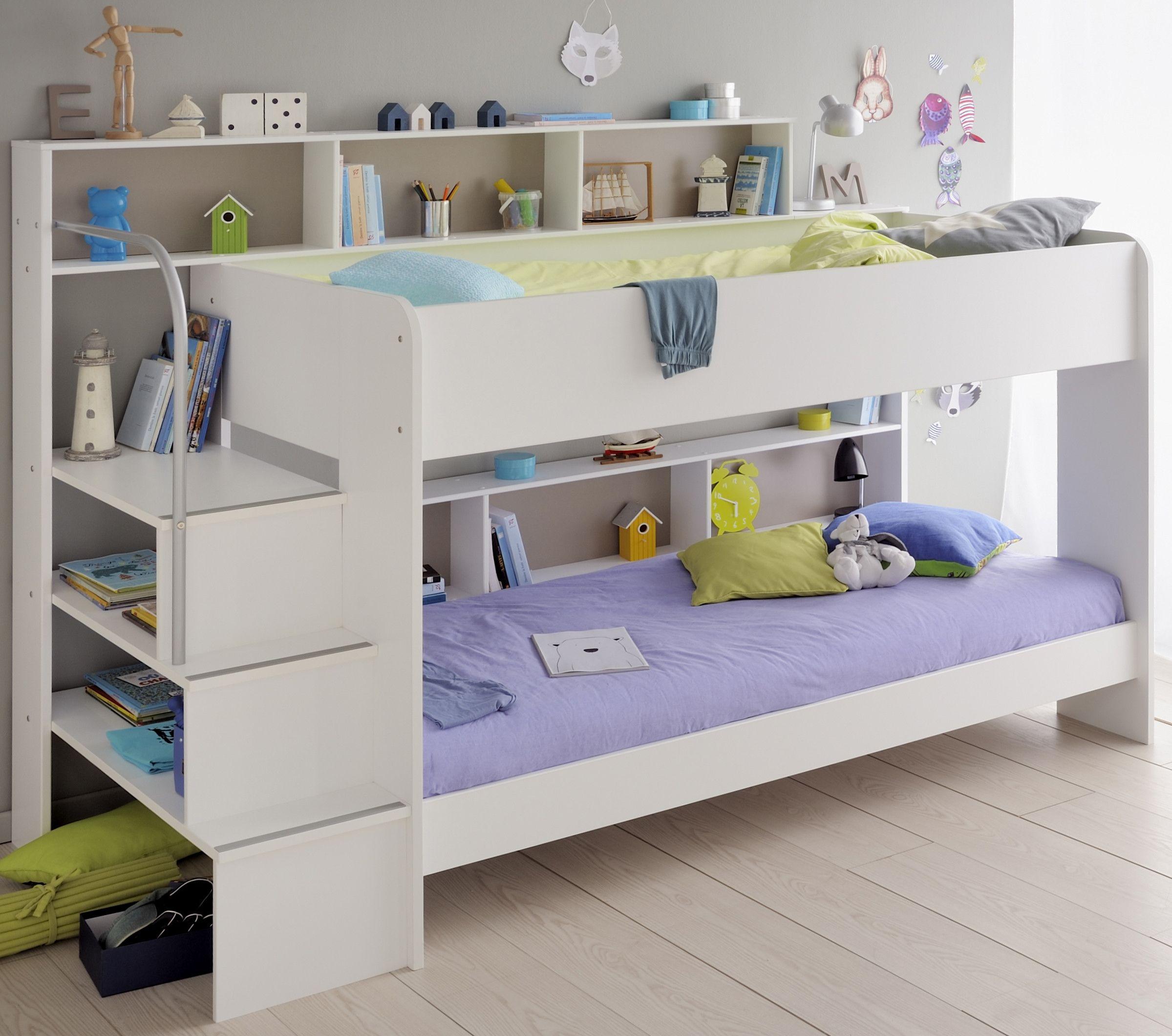 Kinderbett mitwachsend  Etagenbett Kinderbett Rose Hochglanz Rosa-Weiß mit seitlicher ...