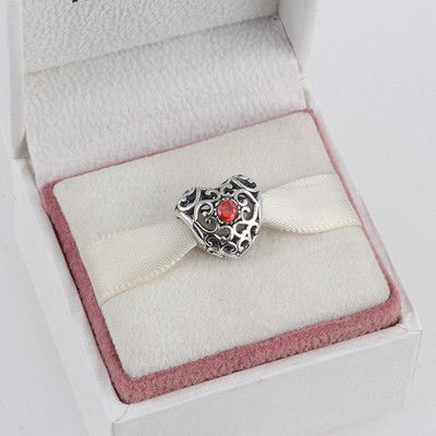 September 925 Sterling Silver Heart Birthstone Charms Beads Fits Pandora Charms Bracelet 12 Month Color Choose