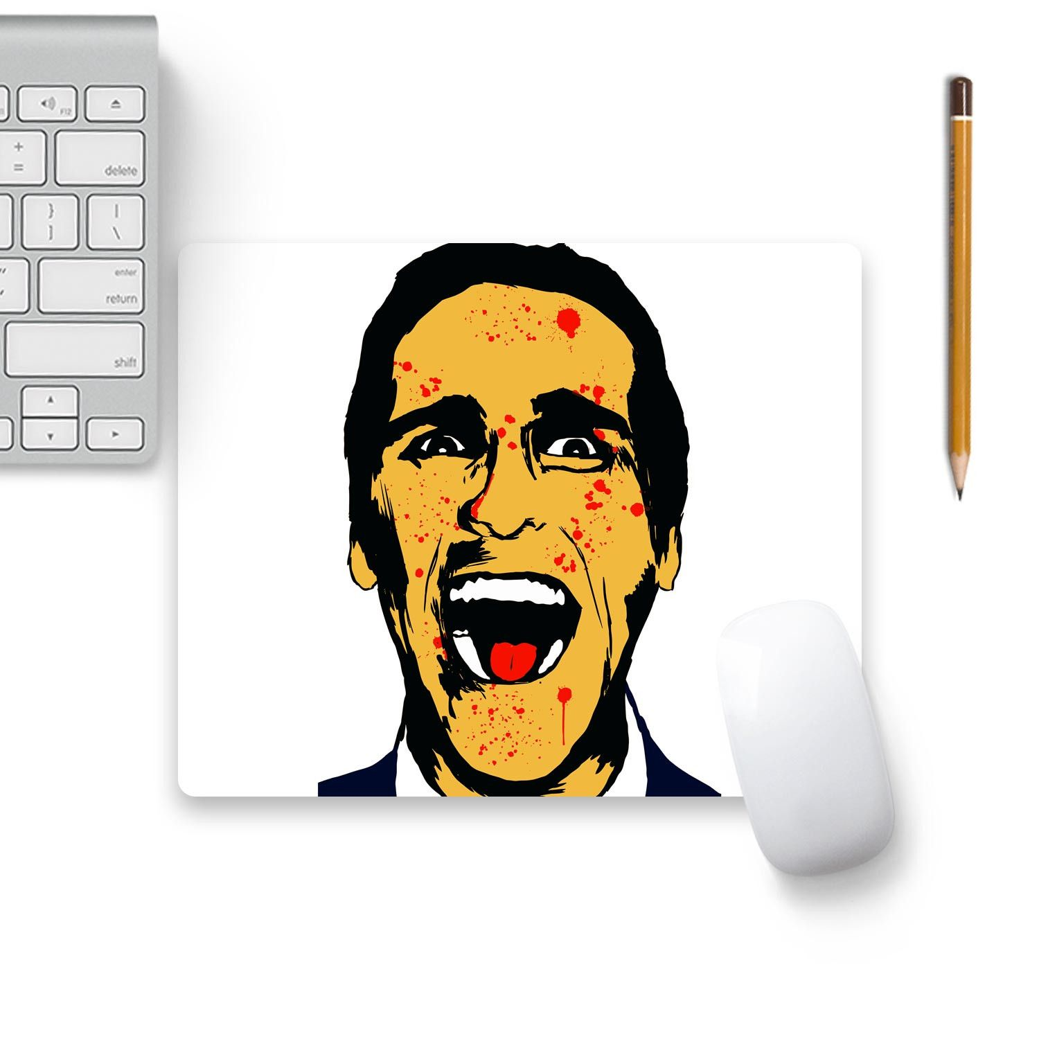 American Psycho On White Mouse Pad Black Base Artist