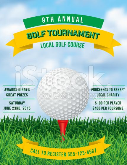 Golf Tournament Invitation Flyer With Grass And Ball RoyaltyFree
