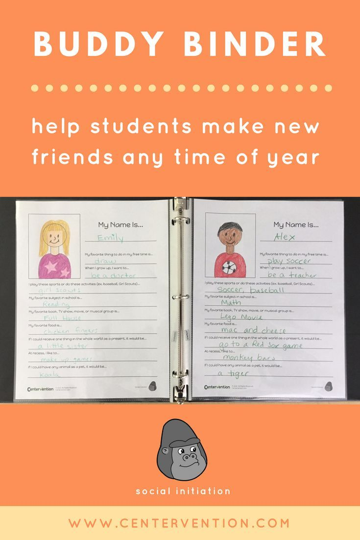 Help Students Make New Friends With A Buddy Binder Friendship