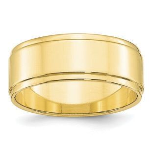 8mm Flat Step Down Edge Wedding Band In 10k Yellow Gold Gemologica Com Offers A Large Selection Of Wedding B Step Edging Mens Gold Wedding Band White Gold Band