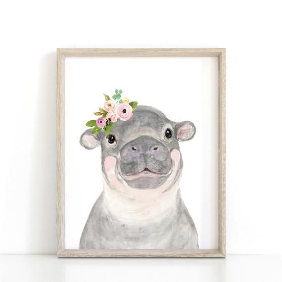 Baby Hippo, flower crown animals, nursey print, floral nursery, hippo nursery, cute hippo, Animal Wall Art, Childrens Wall Decor #babyhippo
