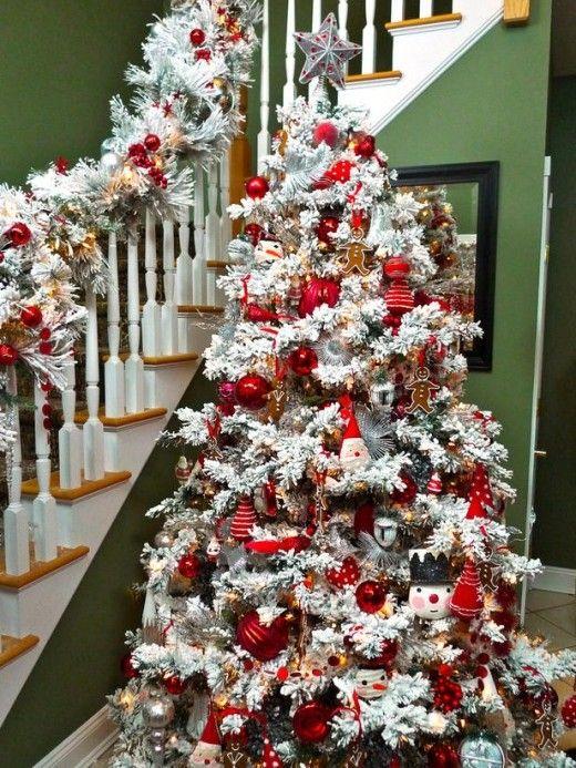 flocked christmas tree decorating ideas