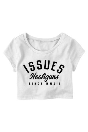 Hooligans Crop Top (White) T-Shirt - Issues T-Shirts - Online ...