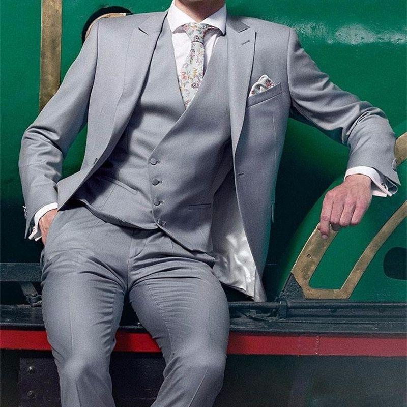 2017 Latest Coat Pant Designs Light Grey Men Suit Slim Fit Blazer ...