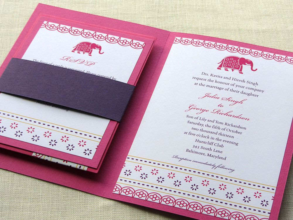 marriage invitation quotes for friends india%0A Indian Wedding Invitation Booklet  Elephant Decorated Jaipur Style   Pocket fold Alternative