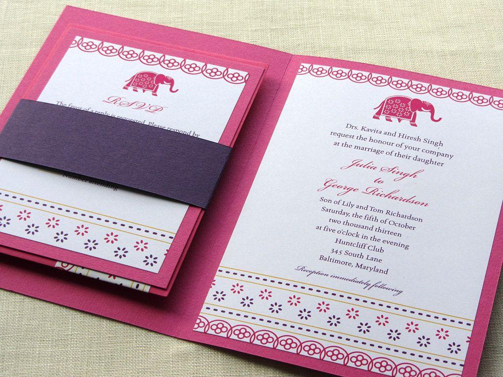 Indian wedding invitation booklet elephant decorated jaipur style indian wedding invitation booklet elephant decorated jaipur style pocket fold alternative 575 stopboris Choice Image