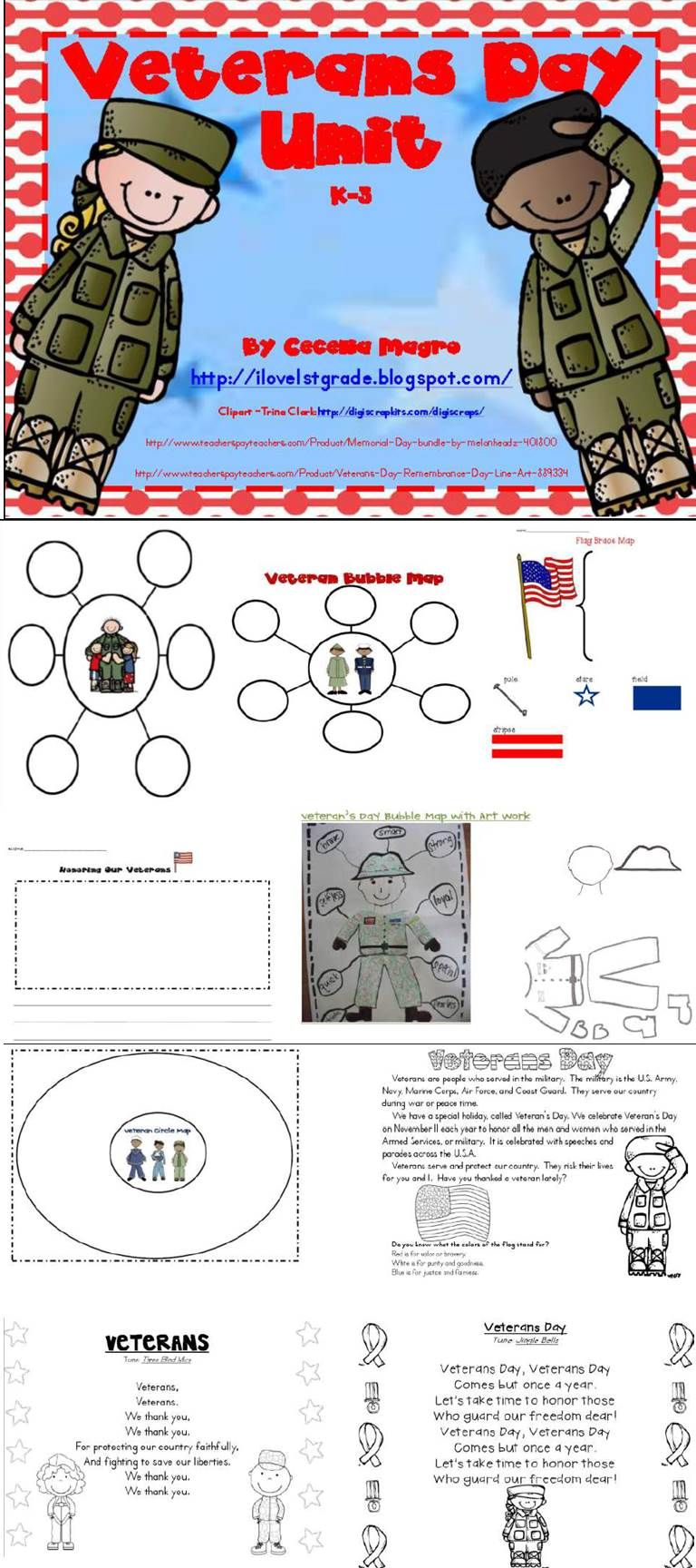 After searching [unsuccessfully] for engaging, meaningful activities on Veterans Day, I created this mini unit. This product includes resources, thinking maps and a writing page. It is 17 pages. I have created bubble maps, a circle map, a flag brace map, a nonfiction article, poems/songs and a writing page. All ideas have been student tested and are sure to be successful in your K-3 classroom.
