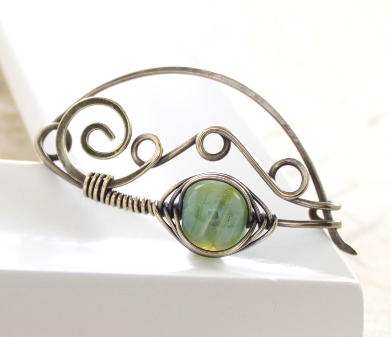 Brass shawl pin, scarf pin in swirly ornate design with grass green ...