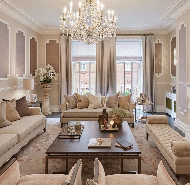 Contemporary Formal Lounge Verging On Feminine Neutral Tones For